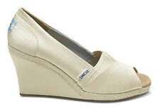 Authentic TOMS Ivory Wedding Grosgrain Women's Wedges, Women Size 11, Open Toe