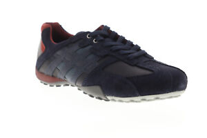 Geox Uomo Snake U8207E022MECF46L Mens Blue Suede Lace Up Euro Sneakers Shoes