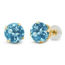 1.20 Ct Round 5mm Topaz 10K Yellow Gold Stud Earrings