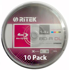10x Ritek Blu-ray Discs - 50GB 4X BD-R DL Recordable - Printable