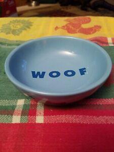 "Blue ""Woof"" Pet Bowl Dishes Stoneware Dog Top Paw Bones 6 OZ"