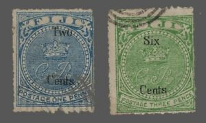 Fiji   used Sc. #18-19  Fault on No.18  stamps of 1871 surcharged in black' 1872