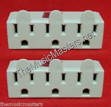 2X Grounded 3 Outlet Triple AC Wall Plug Power Splitter 3-Way Electric Adapter