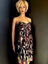 Nicole Miller Womens Dress Strapless Silk Holiday Party Purple Gold Sz 4