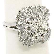 Platinum 4.34ctw GIA I VS2 Round Diamond Baguette Cushion Shape Ballerina Ring