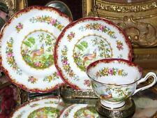 Royal Albert Chelsea Bird Ruby Tea Cup and Saucer, Plate Trio