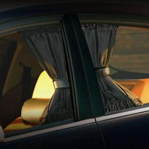 2 X 70cm Car UV Window Adjustable Curtain Sunshade UV Sunshade Black