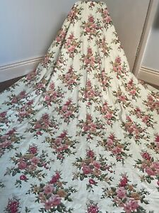 Cream Vintage Roses Lined Curtains Floral Country House Cottage Core 82w x 77l