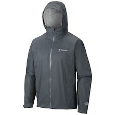 NEW Columbia Mens 3XL Grey EvaPourAtion RAINCOAT TRAVEL COAT JACKET TOP PACKABLE