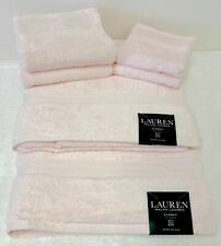Ralph Lauren Classic Cotton Bath Towels 6 piece Set - 2 Bath 2 Hand 2 Wash Pink