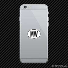 MW Malawi Country Code Oval Cell Phone Sticker Mobile Malawian euro