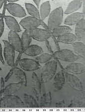 Drapery Upholstery Fabric Tone on Tone Chenille Jacquard Leaf Pattern - Slate