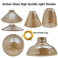 Vintage Retro Lampshades Amber Glass Ceiling Pendant Light Lampshade Retro Style