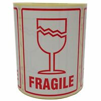 Fragile (Glass Image) Parcel Labels - Postage Stickers - Permanent Self Adhesive