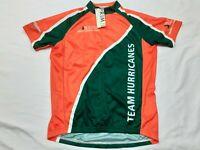 NWT Primal Cycling Jersey Miami Hurricanes UM Green Orange College Mens Sz Small