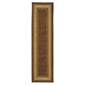 Runner Rug Ottohome Collection Contemporary Bordered Design Brown 3 ft. x 10 ft.