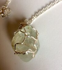 Natural Light Blue Topaz Hand Wrapped Pendant Necklace
