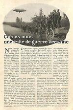 FLOTTE DE GUERRE AERIENNE ZEPPELINS DIRIGEABLES ARTICLE DE PRESSE 1910