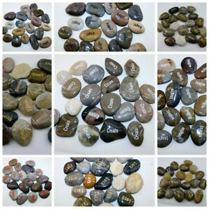 Lot of 100pcs Inspirational Word River Stones Etched Engrave Carve Words Stone