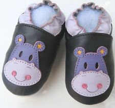 Minishoezoo hippopatamus  black 2-3Toddler slippers leather shoes free shipping
