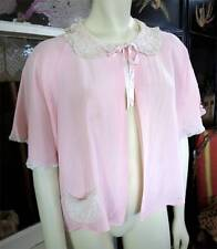 1940s Pink Vintage Rayon Lace Trimmed Bed Jacket Boudoir Top Princess Paramount