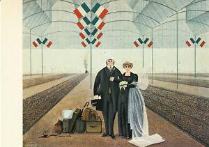 Postkarte: Jan Balet - 23 - Hochzeitsreise / Paar auf dem Bahnsteig