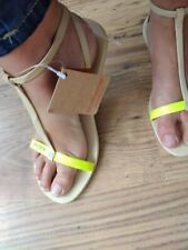 BNWT LEATHER ANKLE STRAP HAVAIANAS 39/40 6/7 NUDE/YELLOW