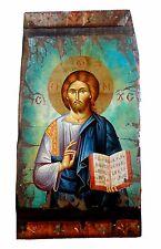 Handmade Wooden Greek Orthodox Aged Icon Painting Canvas Jesus Christ M17