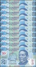 Mexico 20 Pesos X 10 Pieces (PCS), 2013, P-122, UNC, Series-X