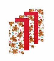Christmas Kitchen Towel Set Gingerbread Cookies and Red 5 Pack