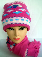 Boys Girls Baby Children's Winter Hat Roll Up Beanie Skull Cap & Scarf Set Pink