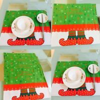 4pcs Christmas Pad Placemat Coasters Set Elf Tableware Setting Xmas Decor