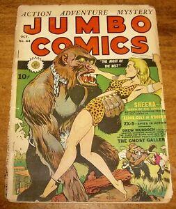 JUMBO Comics #44 scarce Fiction House classic SHEENA gorilla cover GGA jungle