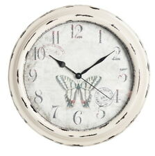 Large wall clock suitable for indoor or outdoor garden use shabby chic cream