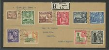 Malta, Fdc, #191-92,93,94,95,96,97,19 8-200, Registered To England, 1938