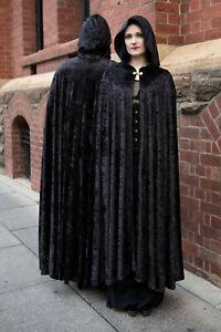 Long Black Gothic, Medieval, velvet Cloak with Hood
