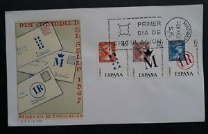 1967 Spain Wolrd Stamp Day FDC ties 3 stamps cancelled Madrid