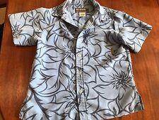 Boys Billabong Button Down Blue Hawaiian Print Size Medium