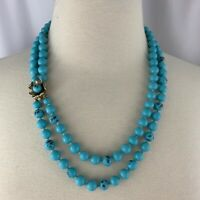 Vintage Knotted Robin Egg Blue Glass Bead Double Strand Necklace Japan 1950s