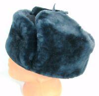 Russian MVD Police Officer Blue Mouton Sheepskin Fur Ushanka Hat Badge 61cm XL