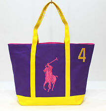 RALPH LAUREN THE BIG PONY COLLECTION PURPLE & YELLOW BEACH / TOTE/ HANDBAG