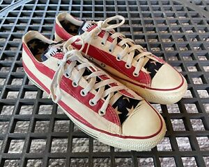 VINTAGE Converse All Star American Flag Low Top Shoes Men 7.5 - Made in USA