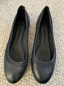 FRYE Carson Black Leather Ballet Flats Slip On Shoe US 9 New Without Tags