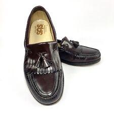 SAS Tasseled Loafers Mens Size 9.5W Burgundy Kiltie Dress Shoes USA Hand Sewn