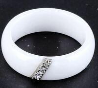 Mode Schmuck Frauen Ring Mit 4 Kristall Keramik Weiß 6 mm Breit  (11)