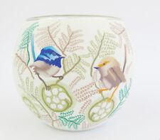 Blue Wren Bird Glowing Glass Tea-light Candle Holder approx 9cm High