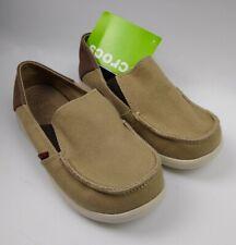 Crocs Santa Cruz canvas boat deck moc toe loafer slipon khaki GS size Junior 2