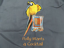 Caribbean Mens Hawaiian Camp Shirt Large Embroidered Polly Wants A Cocktail NWT