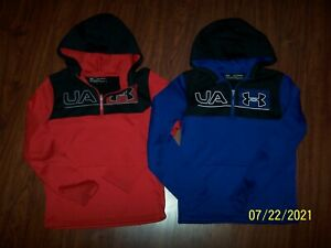 UNDER ARMOUR BRAND BOYS ACTIVE WEAR LOT OF TWO HOODIES SZ XL / YXL BLUE & RED