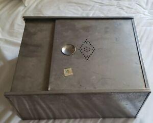 Vintage Metal Hoosier Bread Drawer, sliding lid, cabinet stainless steel